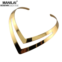 2013 New Hollow Out Design V Shape Gold Torques Fashion Bib Collar Necklaces For Women Dress