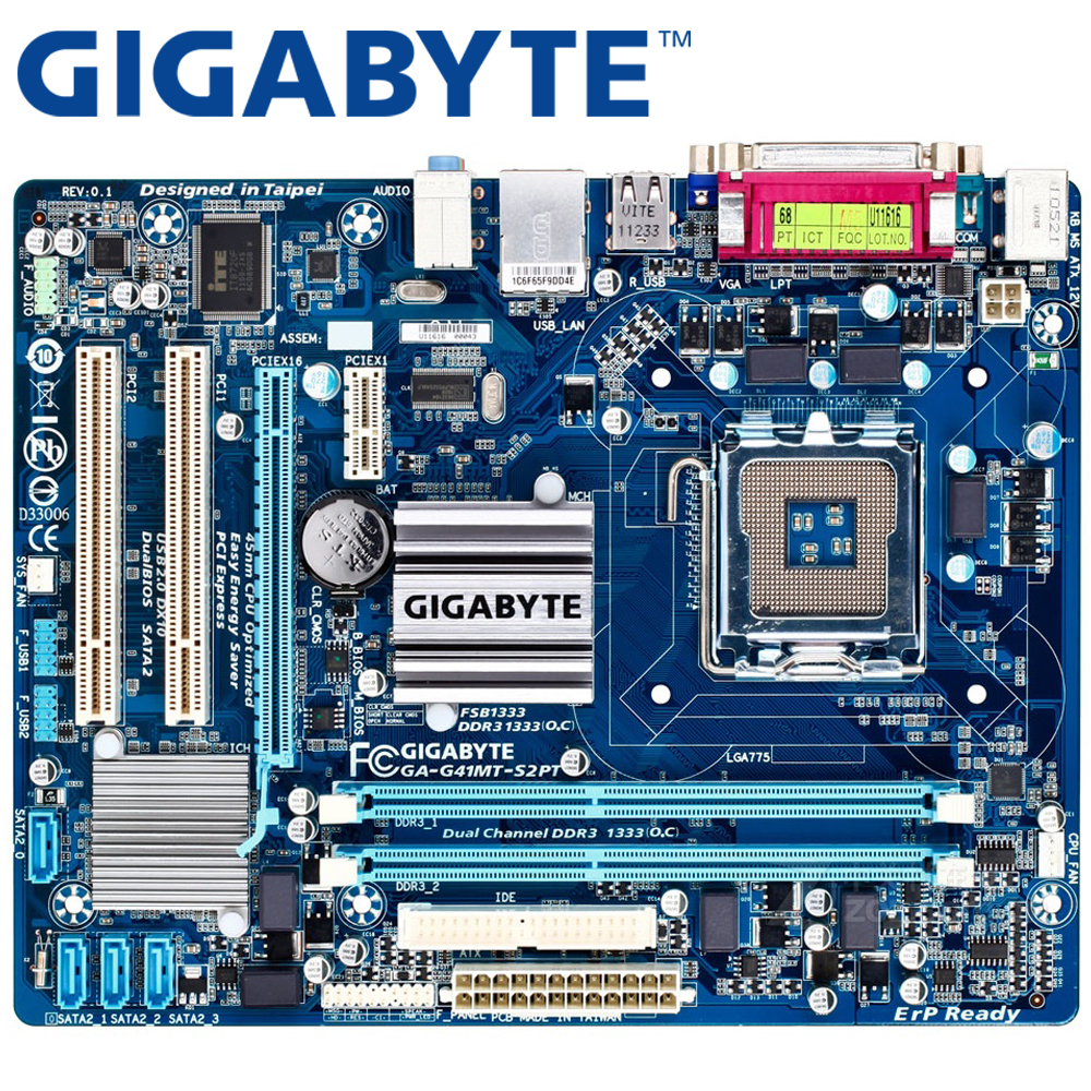 GIGABYTE GA-G41MT-S2PT Desktop Motherboard G41 Socket LGA 775 For Core 2 DDR3 8G Micro ATX Original Used G41MT-S2PT Mainboard high quality desktop motherboard lga 775 ddr3 ga g41mt s2pt motherboard