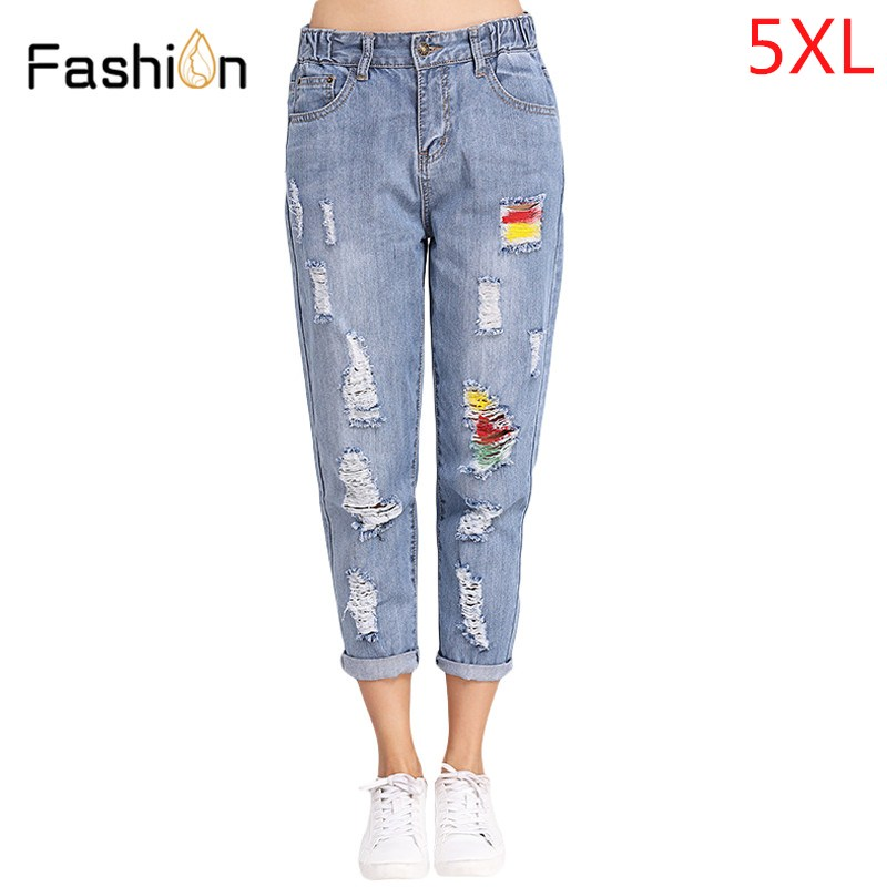Vintage Boyfriend Jeans For Women Mid Waist Denim Jeans Ladies Vintage Loose Mom Harem Jeans Woman Denim Pants Plus Size L-5XL