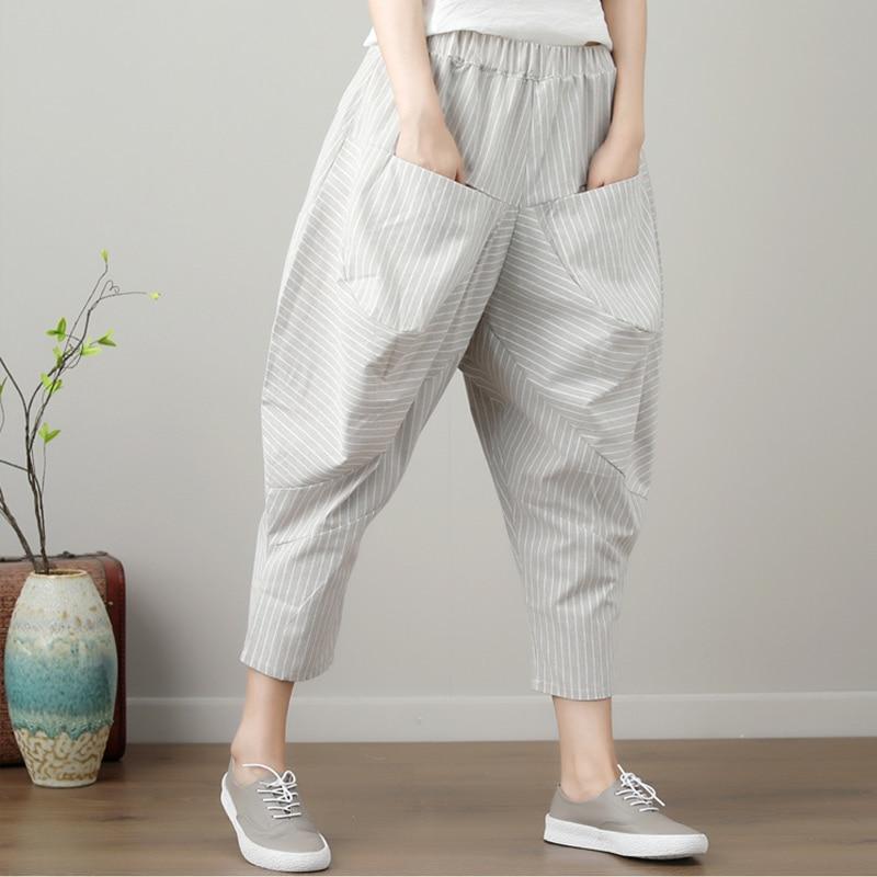 Cotton Linen Striped Elastic Waist Women Harem   Pants     Capris   Lady Loose Female Vintage Plus Size 2019 Summer Casual Lady Trousers