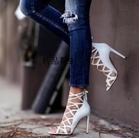 2016 Newest White Cutout High Heel Women Summer Sandals High Quality Wedding Party Dress Shoes Woman
