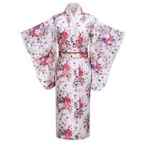 Fashion White Evening Dress Japanese Women Tradition Yukata Kimono With Obi Vintage Cosplay Costume One size