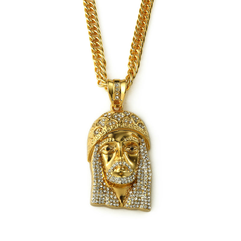 lux gold jesus diamond rope chain necklace i jmd piece carat and pendant