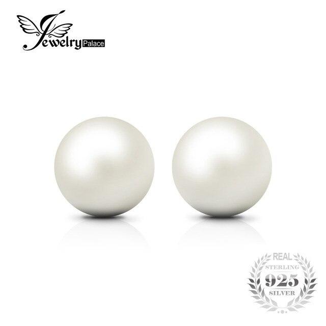 Jewelrypalace 6.5 мм пресноводным культивированным жемчугом кнопку мяч Серьги-гвоздики 925 серебро 2016 Красивые ювелирные изделия Серьги для Для женщин