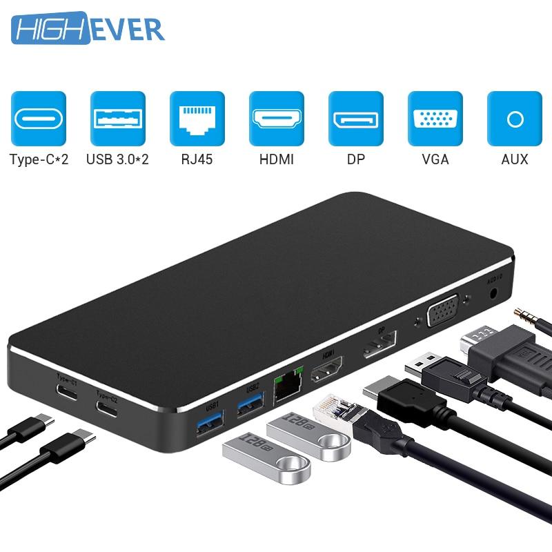 Highever USB HUB TYPE C convertisseur vers HDMI PD RJ45 AUX VGA adaptateur USB 3.0 HUB convertisseur pour Samsung Galaxy S9 Huawei P20 Pro