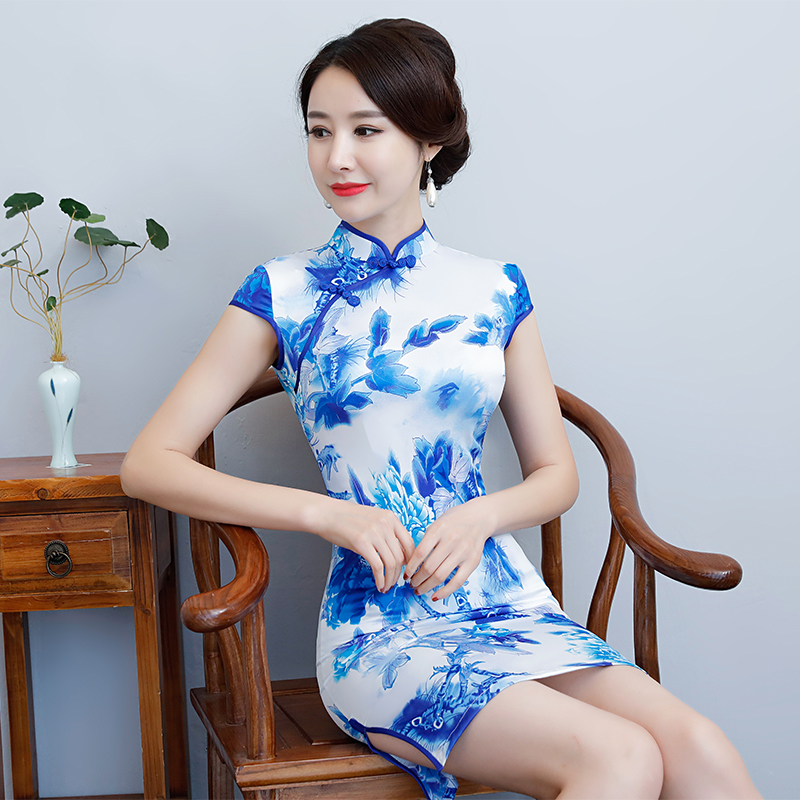 New Arrival Women's Satin Mini Cheongsam Fashion Chinese Style Dress Elegant Slim Qipao Clothing Size S M L XL XXL 368483 4