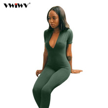 VWIWV 2018 Hot Sale New Fashion Womens Long Green Jumpsuit Sexy Bust Deep V Neck rompers