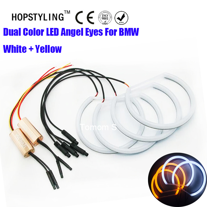 Dual Color Automotive Headlight Halo Rings Light E46 non Projector Angel Eye Cotton light Angel Eyes