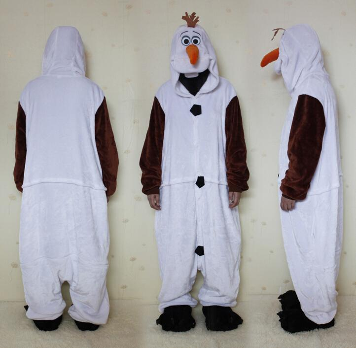 gratis frakt flanell cosplay Olaf Snowman onesie pyjamas eftersom vuxna män bra, festkläder Chritmas Storlek S M LXL