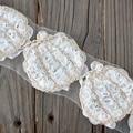 Halloween shabby flower trim pumpkin flower trims,rose chiffon flower white 1 yard