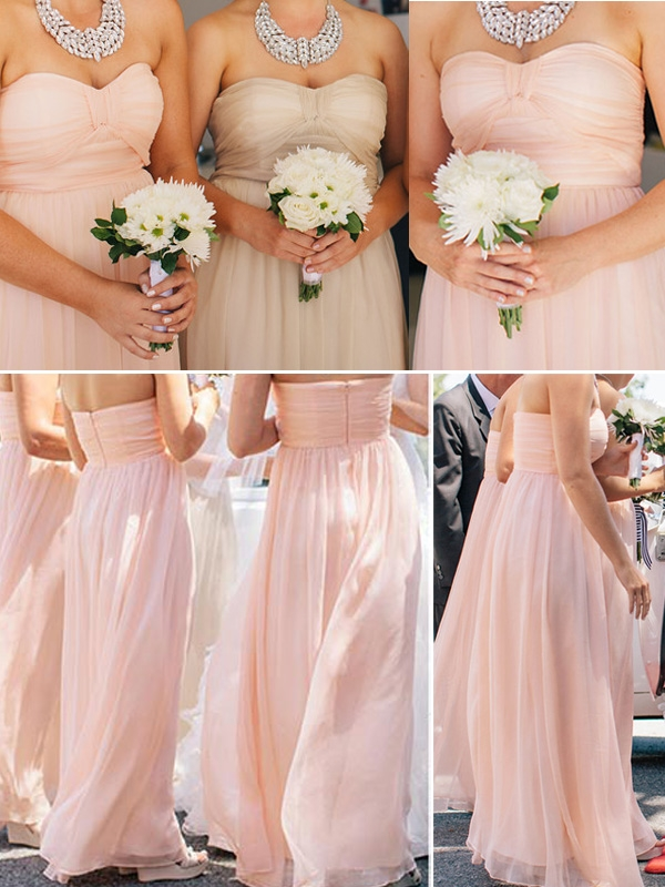 pink purple orange chiffon empire long group bridesmaid