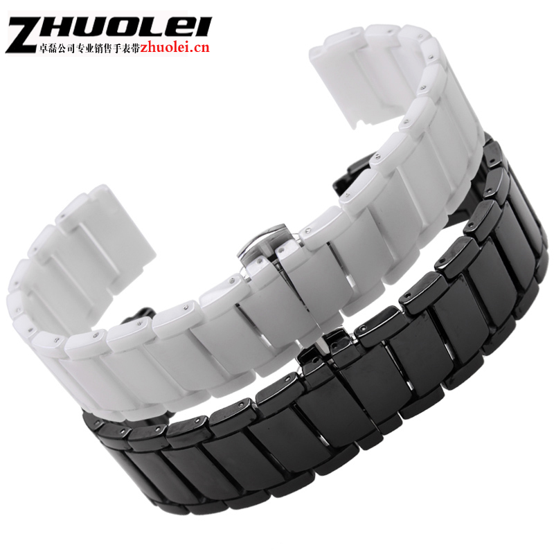Quick release For huawei watch 1 Ceramic watchbands black white Strap lug End watch accessories Fashion bracelets 20*18mm black ceramic watchbands for special curved end watches men case ar 1452 high quality black buckle fashion watch strap bracelets