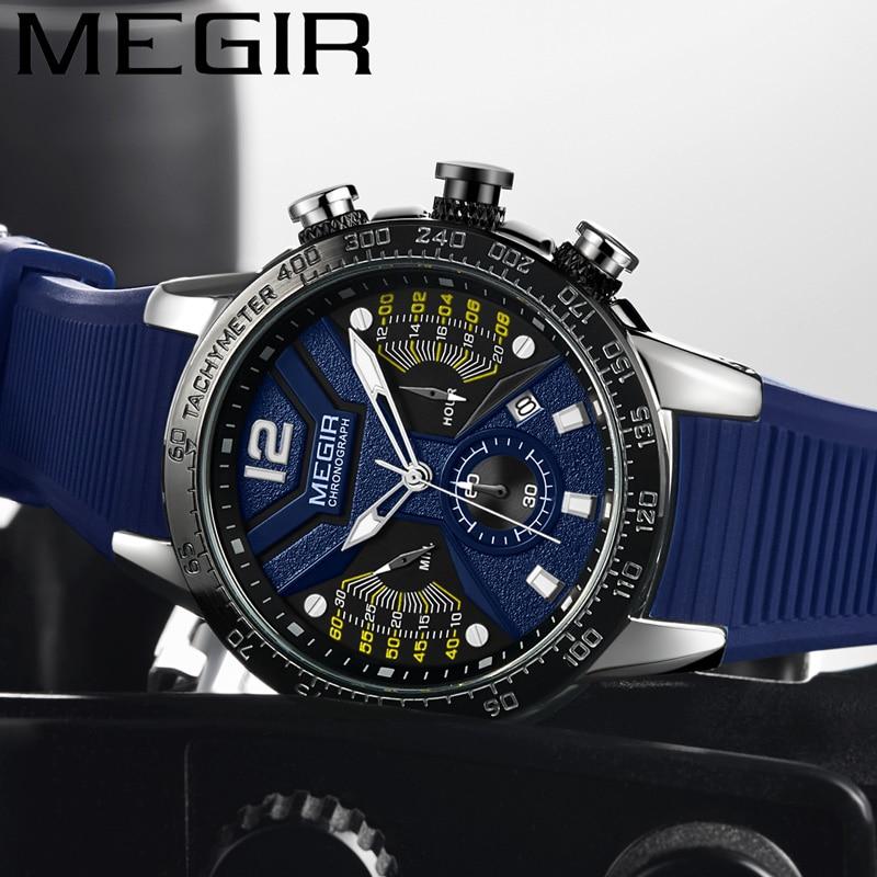 MEGIR Watch Rubber Sport-Wristwatch Waterproof Chronograph 2106 Luxury Calendar Male Clock