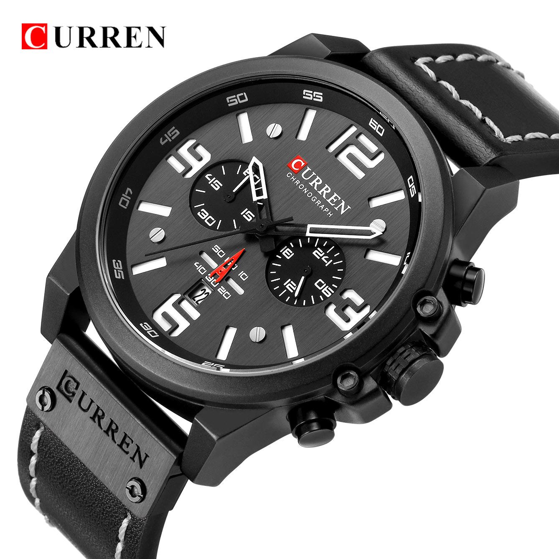 Hombres militar deporte reloj de cuarzo CURREN Casual cuero genuino impermeable cronógrafo reloj hombre de negocios reloj