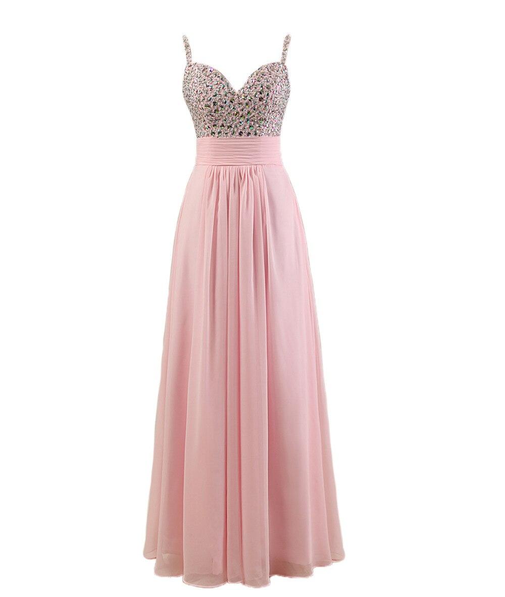 Rosa vestido de dama de honor con correas de espagueti estilo de ...