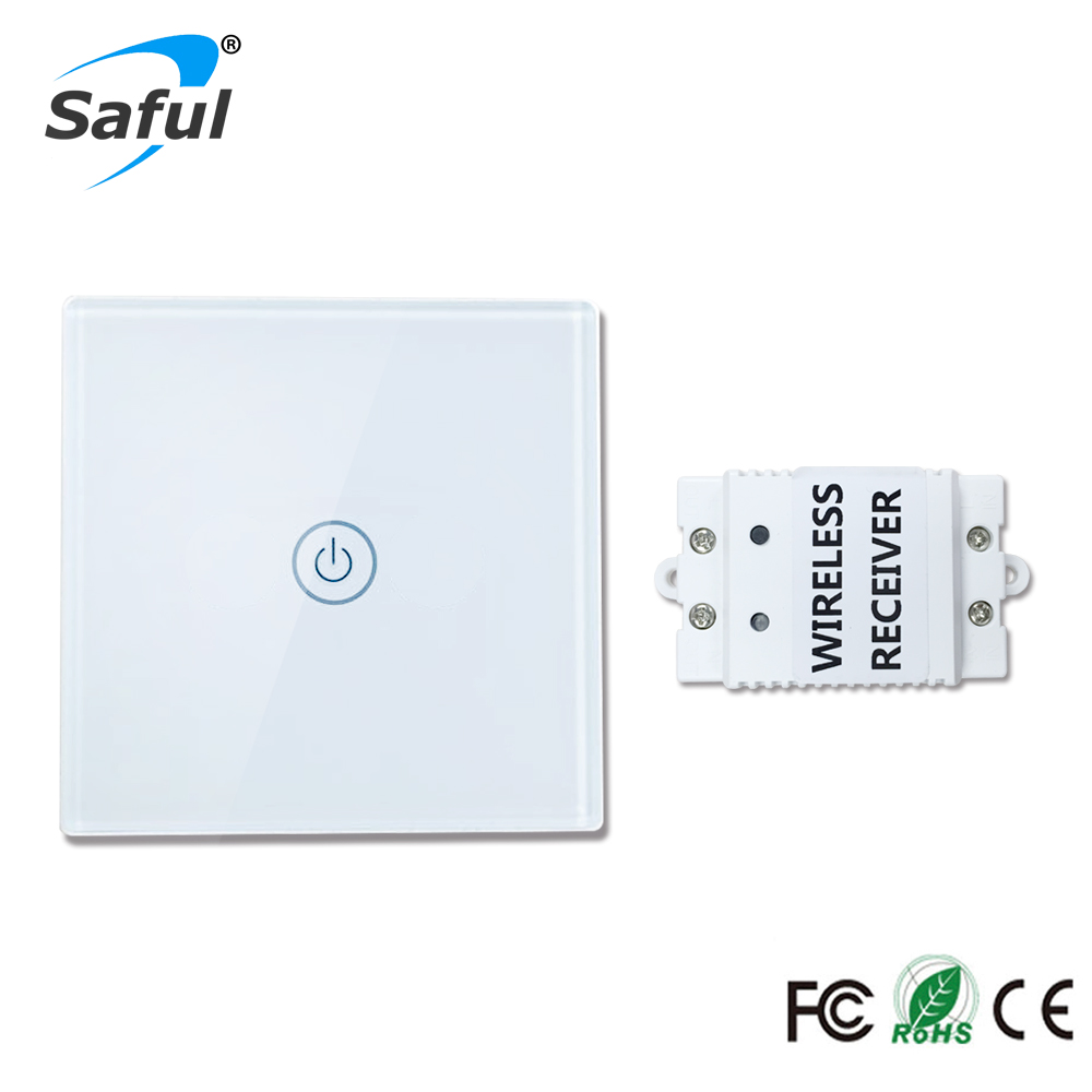 Saful 12V Remote Wireless Touch Switch 1 Gang 1 Way,Crystal Glass Switch Touch Screen Wall Switch For Smart Home Light smart home us black 1 gang touch switch screen wireless remote control wall light touch switch control with crystal glass panel