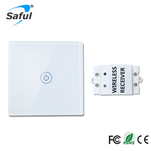 Saful 12V Remote Wireless Touch Switch 1 Gang 1 Way,Crystal Glass Switch Touch Screen Wall Switch For Smart Home Light