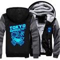 USA size Anime Tokyo Ghoul Ken Kaneki Cosplay Blue Luminous Jacket Sweatshirts Thicken Hoodie Coat