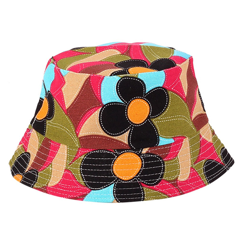 Men Women Bucket Hat Flower Print Cap 2018 Summer Hot Sale Flat Hat Fishing Boonie Bush Cap Outdoor Sunhat Wholesale #FM11 (2)