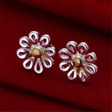 Flower Classic 925 Silver Color Separation Earrings 925 Silver Color For Women Silver Earrings