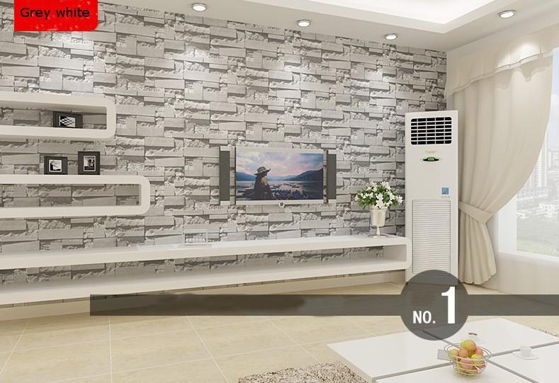 Us 30 8 12 Off Modern Stacked Brick 3d Stone Wallpaper Roll Grey Brick Wallpaper Wall Background Wallpaper For Living Room Pvc Vinyl Wall Paper In