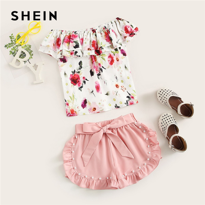SHEIN Kiddie Off The Shoulder Floral Print Top With Pearls Beaded Shorts Cute Sets 2019 Summer Holiday Knot Boho Kids Outfits off shoulder floral print blouse