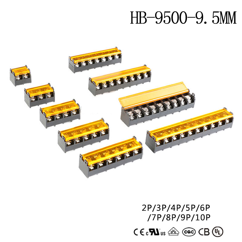 2Pcs HB-9500- <font><b>9.5mm</b></font> 2P-10P Barrier <font><b>Terminal</b></font> <font><b>Block</b></font> Connector with Cover PCB Mount connector image
