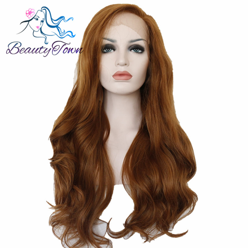 BeautyTown Autumn Brown Color Heat Resistant Hair 150 Density Cosplay Synthetic Lace Front Daily Wigs For