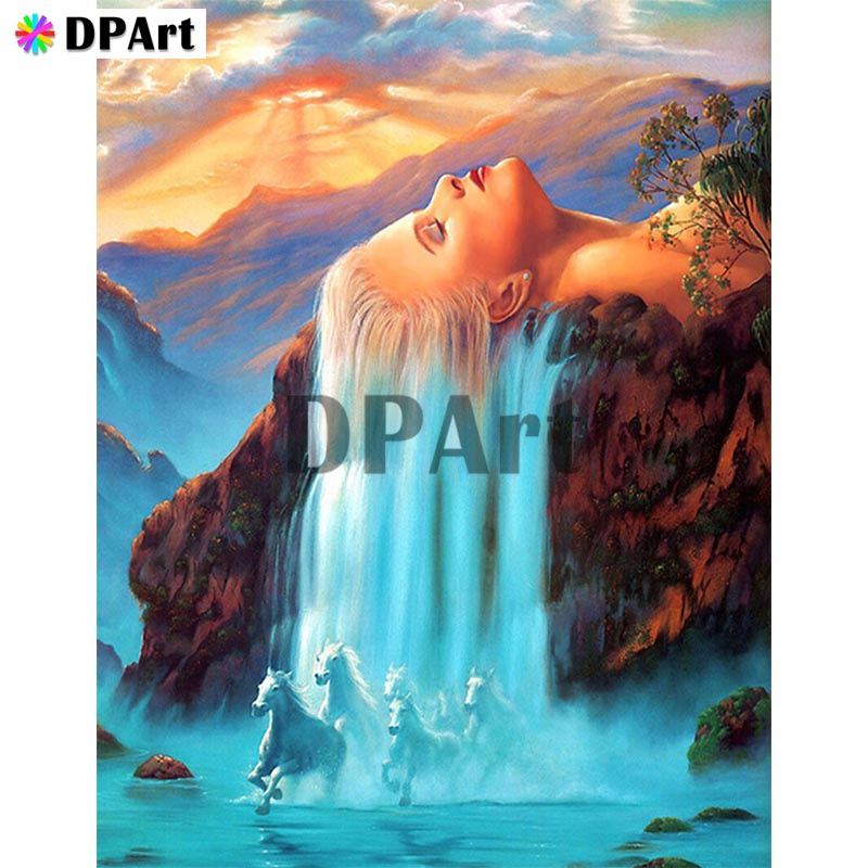 Diamond Painting 5D Full Square/Round Drill Waterfall Horse Beauty Women Hair Daimond Embroidery Painting Cross Stitch M773Diamond Painting 5D Full Square/Round Drill Waterfall Horse Beauty Women Hair Daimond Embroidery Painting Cross Stitch M773