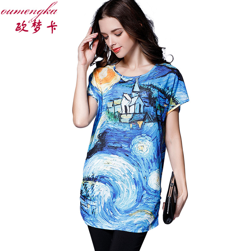 2017 plus size women clothing summer new style art printed for Plus size summer shirts