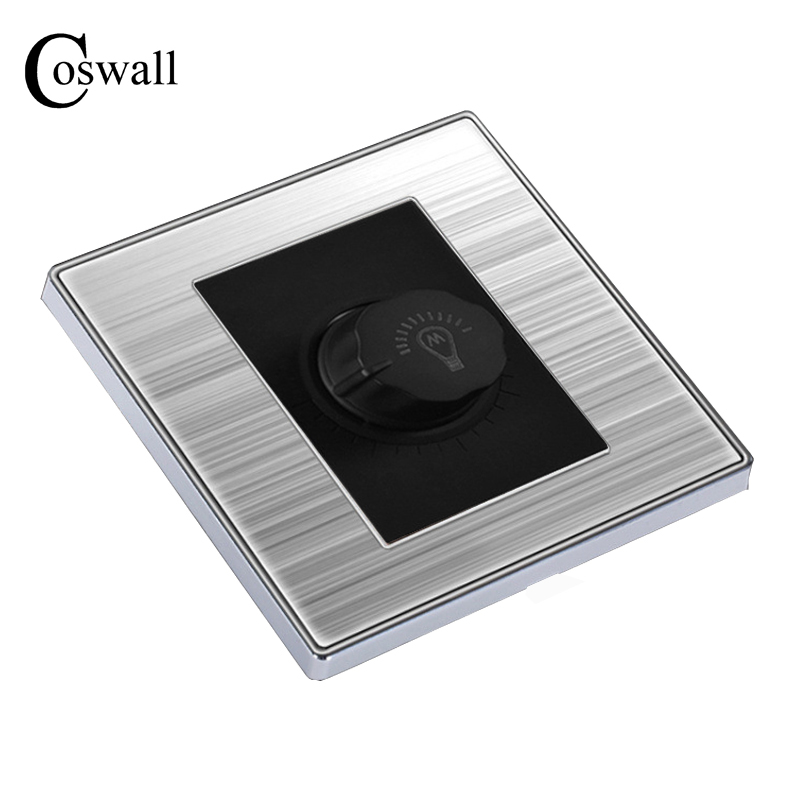 Coswall Luxury Light Dimmer Switch Wall Interruptor Brushed Silver Stainless Steel Panel Power Conmutador 10A AC 110~250V alarm button fire emergency call luxury switch panel alarm with key brushed silver stainless steel sos panel