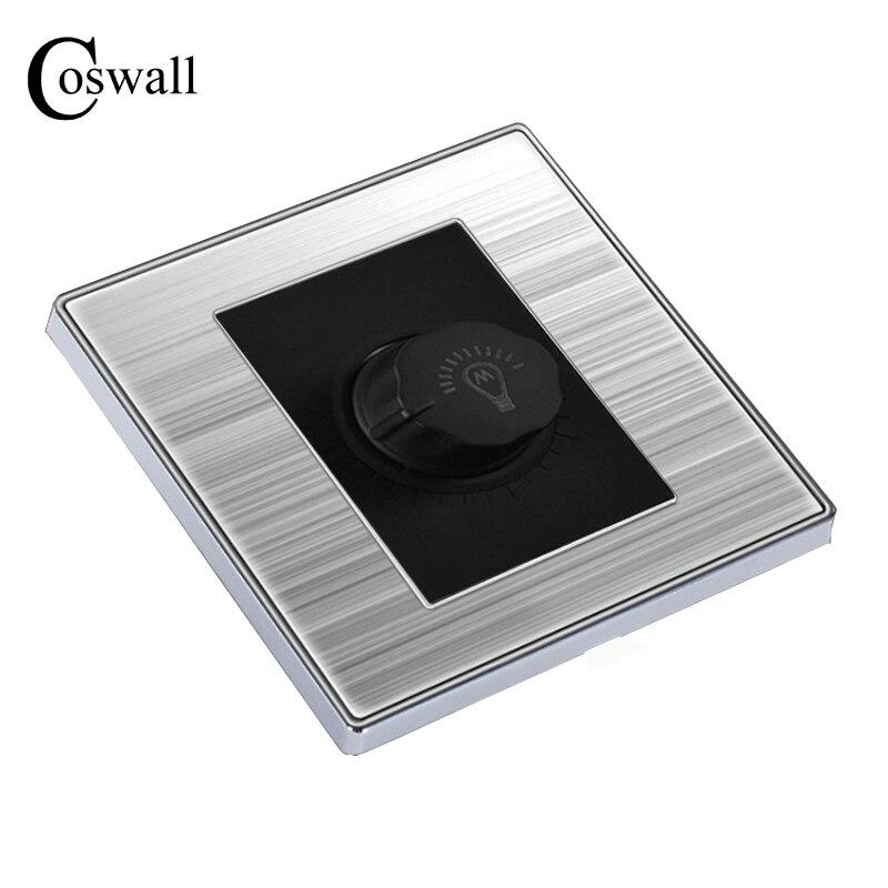 Coswall Luxus Licht Dimmer Wand Interruptor Gebürstet Silber Edelstahl Panel Power Conmutador 10A AC 110 ~ 250 V