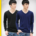 2016 autumn men's long-sleeved cotton solid color thin section V-neck sweater bottoming youth knit shirt tide