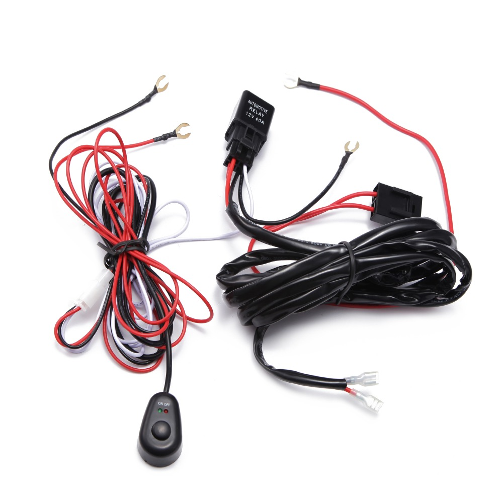 ECAHAYKU Car Auto Led Work Lamp Driving Lights Wiring Loom Harness Offroad Light Bar Wire Cable 40A 12v 24v Switch Relay Kit