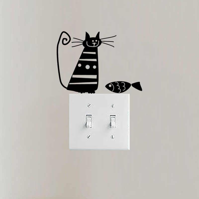 Disegno di arte Del Vinile Autoadesivo Dell'interruttore Della Parete Della Decalcomania Camera Dei Bambini Decor Gatto E Pesce 3SS0243