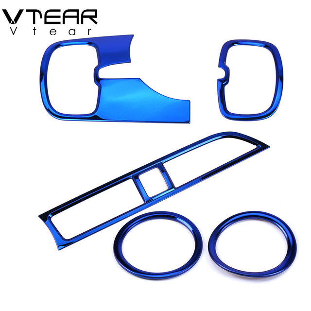 Vtear For Kia Rio 4 x line Accessories air outlet circle cover x-line interior mouldings car-styling chrome trim decoration 2017 5