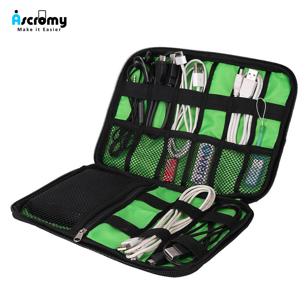 Black Cable Organizer Electronics Accessories Travel Bag USB Drive Bag Healthcare Grooming Kit Winder Management Storage Case (1)
