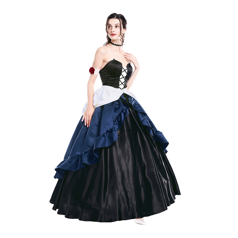 Victorian Gothic  Dress Steampunk Dress 18th Century Gown Venice Costume Wedding Ball Gown Black Dress