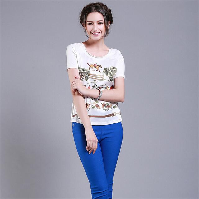 2016 de Seda de Alta Qualidade T shirt Mulheres Tops Plus Size S-XXL Cavalo Impressão de Manga Curta T-shirt do Verão T-shirt Das Mulheres de Roupas