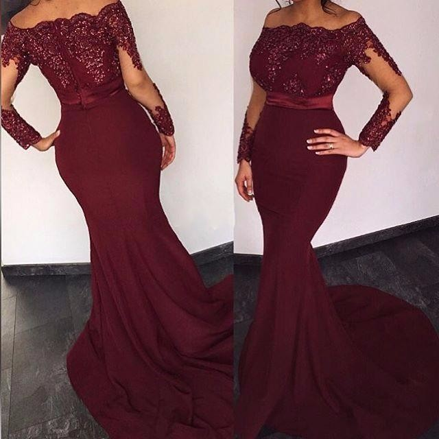 Cheap Chiffon Lace Burgundy Mermaid   Bridesmaid     Dresses   Long Sleeve Appliques Beade Maid Of Honor Gowns