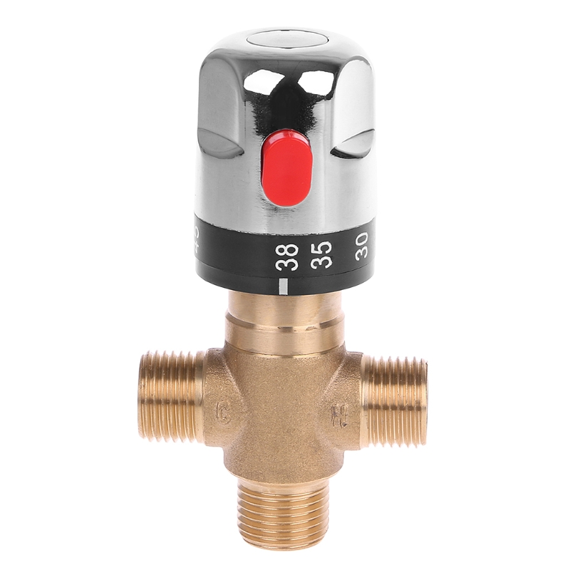 Solid Brass G1 2 Male 3 Way Thermostatic Mixing Valve Shower Water Temperature Control
