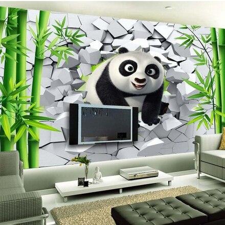 envío gratis gran mural de dibujos animados lindo panda niños