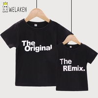 WeLaken 2018 New Fashion Family Matching Outfits Letter Printed The Original Remix Family T Shirts Father