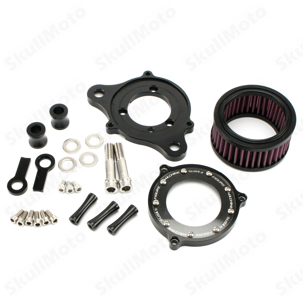 Black CNC Motorbike Air Cleaner Intake Filter System Kit For Harley Sportster XL883 XL1200 1991 2016 2015 2014 Moto Air Filter in Air Filters Systems from Automobiles Motorcycles