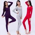 Плюс Размер XL-6XL Женщины Лонг Джонс Топ Брюки Твердые Тонкий модальные Комфортно Леди Body Костюм Зимний Thermal Underwear Большой Размер 3096