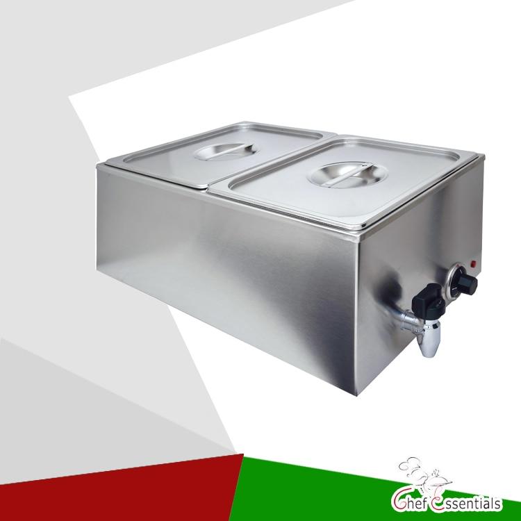 Ev Aletleri'ten Mutfak Robotları'de PKXW 2W İki tava elektrikli çorba tenceresi paslanmaz çelik bain marie meslek ticari mutfak title=