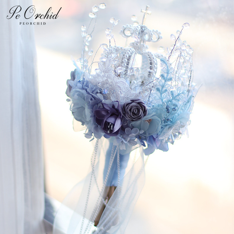 PEORCHID High End Bue Brooches Crystal Wedding Bouquet Bling Crown Pearl Bridal Bouquet Silk Artificial Bride Holding Flowers