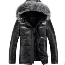 M-3XL, новинка, мужской зимний пуховик из натуральной кожи, Мужская короткая куртка из овчины с воротником из лисьего меха, повседневная куртка с капюшоном