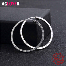 32mm 100% Genuine Real Pure Solid 925 Sterling Silver Hoop Earrings for Women Fine Jewelry Large Round Female Earrings Gift