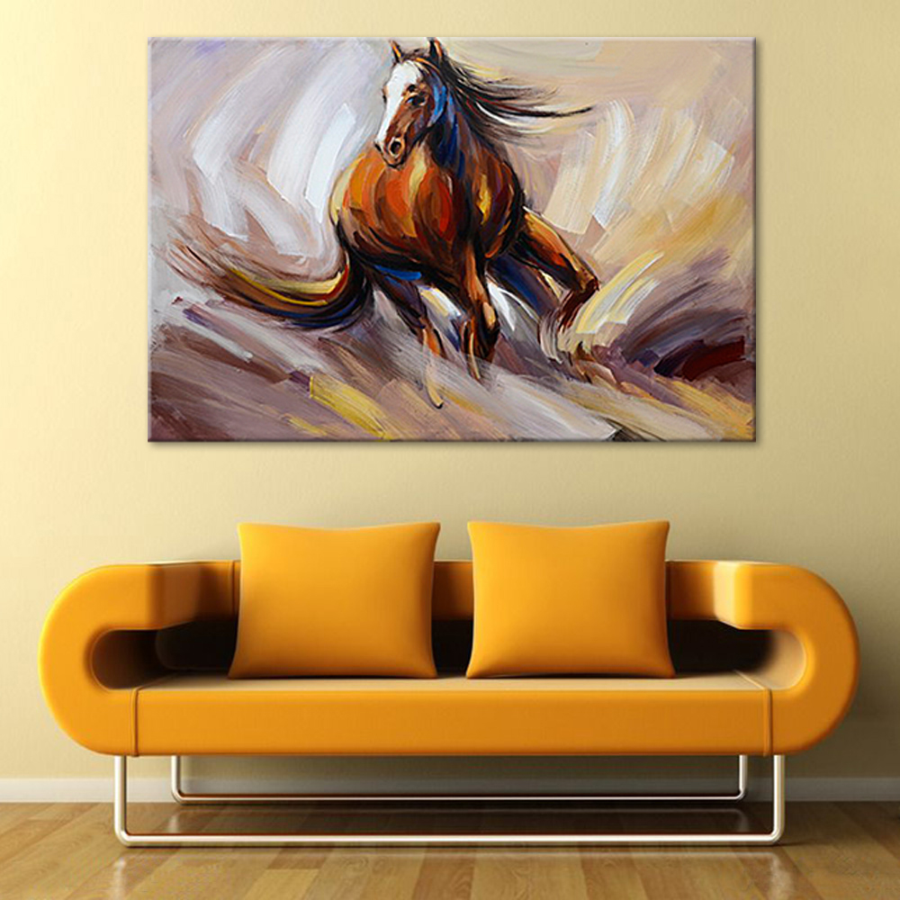 Hand Painted Running Horse Oil Painting by Brush Modern Abstract ...